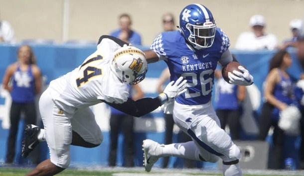 Sep 15, 2018; Lexington, KY, USA; Kentucky Wildcats running back Benny Snell Jr. (26) runs the ball against the Murray State Racers in the first half at Kroger Field. Photo Credit: Mark Zerof-USA TODAY Sports