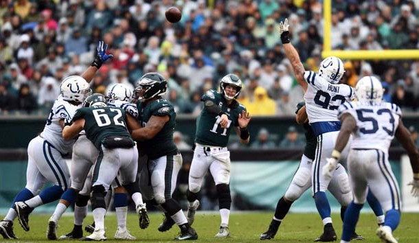 Sep 23, 2018; Philadelphia, PA, USA; Philadelphia Eagles quarterback Carson Wentz (11) passes in the third quarter against the Indianapolis  Colts at Lincoln Financial Field. Photo Credit: James Lang-USA TODAY Sports