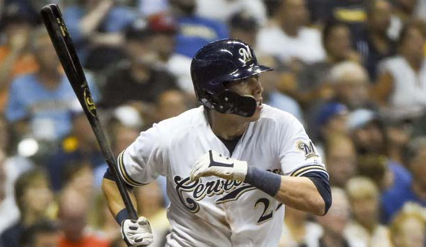 Sep 17, 2018; Milwaukee, WI, USA; Milwaukee Brewers left fielder Christian Yelich (22) watches after hitting a triple in the sixth inning against the Cincinnati Reds at Miller Park. Photo Credit: Benny Sieu-USA TODAY Sports