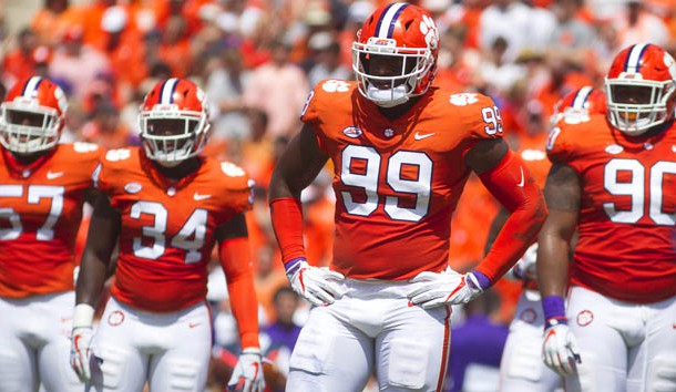 Sep 1, 2018; Clemson, SC, USA; Clemson Tigers linebacker Tre Lamar (57), linebacker Kendall Joseph (34), defensive end Clelin Ferrell (99), and defensive tackle Dexter Lawrence (90) look to the sidelines between plays during the first quarter at Clemson Memorial Stadium. Photo Credit: Joshua S. Kelly-USA TODAY Sports