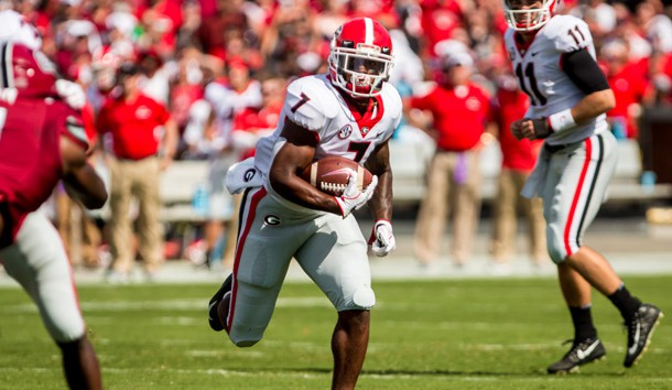 Sep 8, 2018; Columbia, SC, USA; Georgia Bulldogs running back D'Andre Swift (7) runs for a touchdown against the South Carolina Gamecocks in the first half at Williams-Brice Stadium. Photo Credit: Jeff Blake-USA TODAY Sports