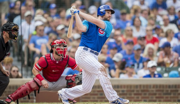 Aug 25, 2018; Chicago, IL, USA; Chicago Cubs second baseman Daniel Murphy (3) hits a two-run home run during the second inning against the Cincinnati Reds at Wrigley Field. Photo Credit: Patrick Gorski-USA TODAY Sports