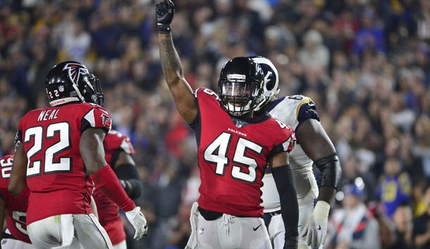January 6, 2018; Los Angeles, CA, USA; Atlanta Falcons middle linebacker Deion Jones (45) reacts after a defensive play against the Los Angeles Rams during the second half in the NFC Wild Card playoff football game at the Los Angeles Memorial Coliseum. Photo Credit: Gary A. Vasquez-USA TODAY Sports