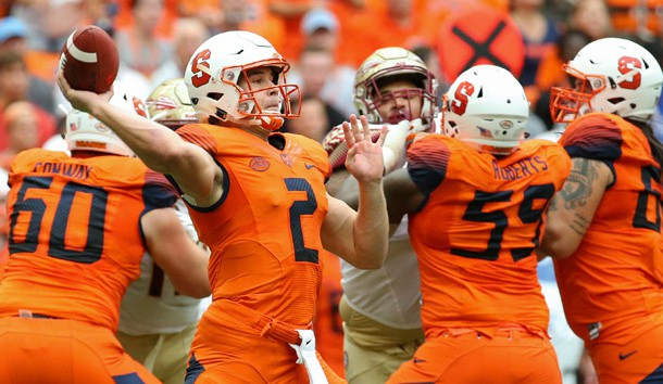Sep 15, 2018; Syracuse, NY, USA; Syracuse Orange quarterback Eric Dungey (2) passes the ball against the Florida State Seminoles during the first quarter at the Carrier Dome. Mandatory Credit: Rich Barnes-USA TODAY Sports