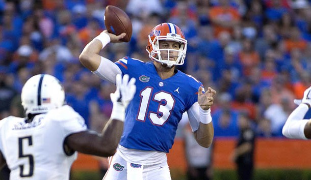 Sep 1, 2018; Gainesville, FL, USA; Florida Gators quarterback Feleipe Franks (13) throws during the first quarter of play against the Charleston Southern Buccaneers at Ben Hill Griffin Stadium. Photo Credit: Glenn Beil-USA TODAY Sports