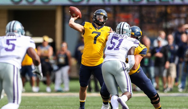Sep 22, 2018; Morgantown, WV, USA; West Virginia Mountaineers quarterback Will Grier (7) throws a pass during the first quarter against the Kansas State Wildcats at Mountaineer Field at Milan Puskar Stadium. Photo Credit: Ben Queen-USA TODAY Sports