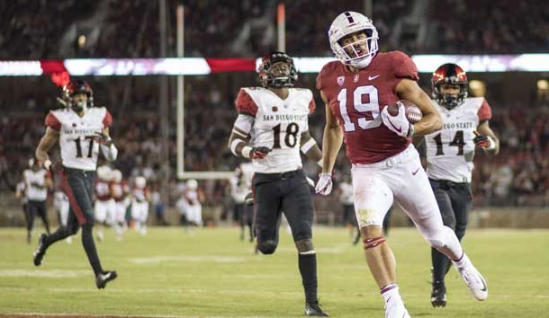 August 31, 2018; Stanford, CA, USA; Stanford Cardinal wide receiver Jj Arcega-Whiteside (19) scores a touchdown against the San Diego State Aztecs during the third quarter at Stanford Stadium. Stanford defeated San Diego State 31-10. Photo Credit: Kyle Terada-USA TODAY Sports
