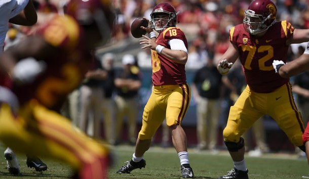 Sep 1, 2018; Los Angeles, CA, USA; Southern California Trojans quarterback JT Daniels (18) attempts a pass during the first half against the UNLV Rebels at Los Angeles Memorial Coliseum. Photo Credit: Kelvin Kuo-USA TODAY Sports