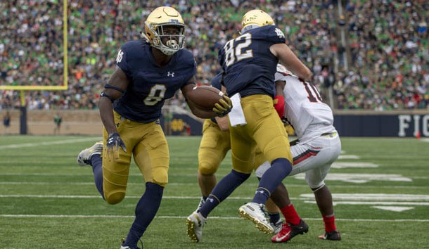 Sep 8, 2018; South Bend, IN, USA; Notre Dame Fighting Irish wide receiver Jafar Armstrong (8) runs for a touchdown in the first quarter against the Ball State Cardinals at Notre Dame Stadium. Photo Credit: Matt Cashore-USA TODAY Sports