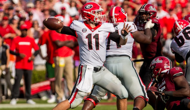 Sep 8, 2018; Columbia, SC, USA; Georgia Bulldogs quarterback Jake Fromm (11) passes against the South Carolina Gamecocks in the first half at Williams-Brice Stadium. Photo Credit: Jeff Blake-USA TODAY Sports