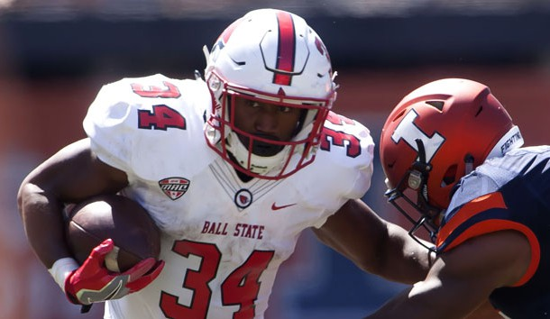 Sep 2, 2017; Champaign, IL, USA; Ball State Cardinals running back James Gilbert (34) carries the ball against the Illinois Fighting Illini during the 3rd Quarter at Memorial Stadium. Photo Credit: Mike Granse-USA TODAY Sports