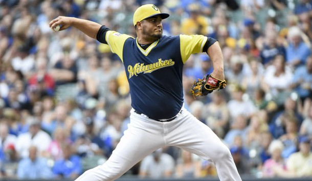 Aug 25, 2018; Milwaukee, WI, USA; Milwaukee Brewers pitcher Jhoulys Chacin (45) throws a pitch in the first inning against the Pittsburgh Pirates at Miller Park. Photo Credit: Benny Sieu-USA TODAY Sports