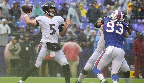Sep 9, 2018; Baltimore, MD, USA; Baltimore Ravens quarterback Joe Flacco (5) throws during the second quarter against the Buffalo Bills at M&T Bank Stadium. Baltimore Ravens defeated Buffalo Bills 47-3. Photo Credit: Tommy Gilligan-USA TODAY Sports