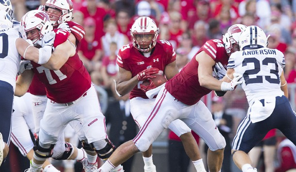 Sep 15, 2018; Madison, WI, USA; Wisconsin Badgers running back Jonathan Taylor (23) rushes with the football during the fourth quarter against the BYU Cougars at Camp Randall Stadium. Photo Credit: Jeff Hanisch-USA TODAY Sports