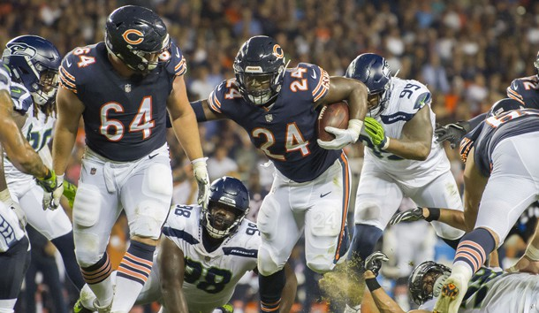 Sep 17, 2018; Chicago, IL, USA; Chicago Bears running back Jordan Howard (24) runs the ball against the Seattle Seahawks during the first half at Soldier Field. Photo Credit: Patrick Gorski-USA TODAY Sports