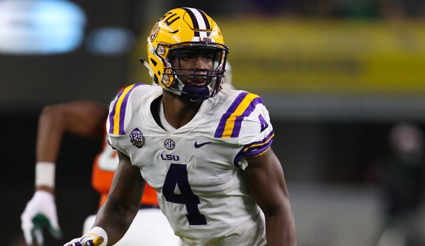 Sep 2, 2018; Arlington, TX, USA; LSU Tigers linebacker K'Lavon Chaisson (4) in action against the Miami Hurricanes at AT&T Stadium. Photo Credit: Matthew Emmons-USA TODAY Sports