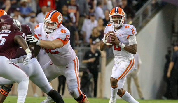 Sep 8, 2018; College Station, TX, USA; Clemson Tigers quarterback Kelly Bryant (2) drops back to pass during the game against the Texas A&M Aggies at Kyle Field. Photo Credit: John Glaser-USA TODAY Sports