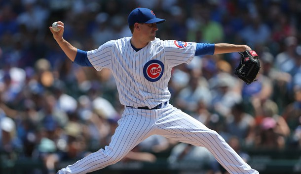 Aug 4, 2018; Chicago, IL, USA; Chicago Cubs starting pitcher Kyle Hendricks (28) throws a pitch during the first inning against the San Diego Padres at Wrigley Field. Photo Credit: Dennis Wierzbicki-USA TODAY Sports
