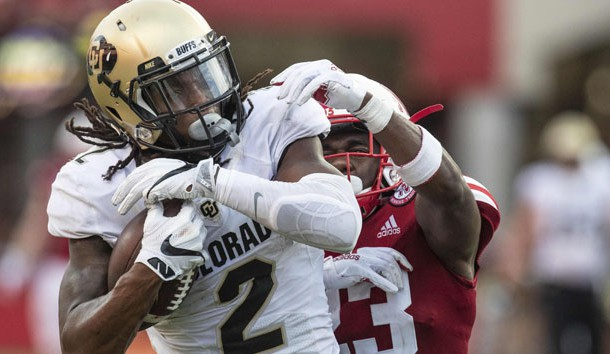 Sep 8, 2018; Lincoln, NE, USA; Colorado Buffaloes wide receiver Laviska Shenault Jr. (2) catches a touchdown pass against Nebraska Cornhuskers cornerback DiCaprio Bootle (23) in the second half at Memorial Stadium. Colorado won 33-28. Photo Credit: Bruce Thorson-USA TODAY Sports