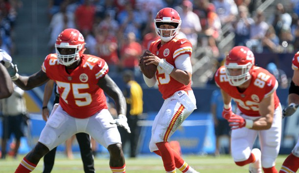 September 9, 2018; Carson, CA, USA; Kansas City Chiefs quarterback Patrick Mahomes (15) drops back to pass against the Los Angeles Chargers during the first half at StubHub Center. Photo Credit: Gary A. Vasquez-USA TODAY Sports