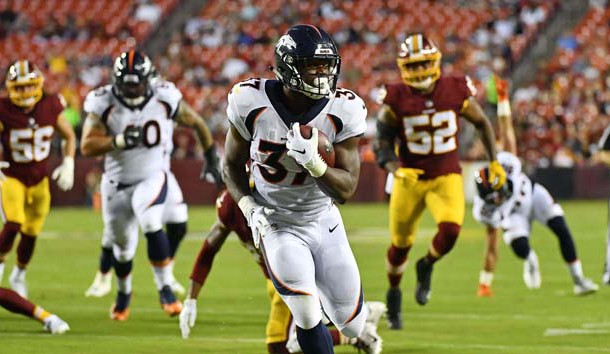 Aug 24, 2018; Landover, MD, USA; Denver Broncos running back Royce Freeman (37) runs for a touchdown against the Washington Redskins during the first half at FedEx Field. Photo Credit: Brad Mills-USA TODAY Sports