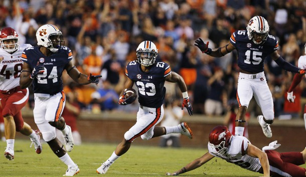 Sep 22, 2018; Auburn, AL, USA; Auburn Tigers receiver Ryan Davis (23) returns a punt against the Arkansas Razorbacks during the first quarter at Jordan-Hare Stadium. Photo Credit: John Reed-USA TODAY Sports