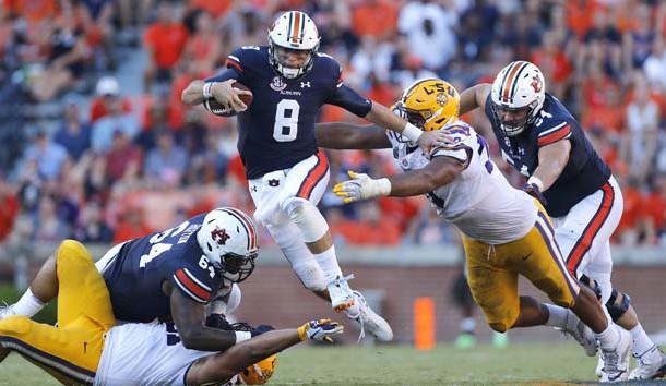 Sep 15, 2018; Auburn, AL, USA; Auburn Tigers quarterback Jarrett Stidham (8) carries during the third quarter against the LSU Tigers at Jordan-Hare Stadium.  LSU beat Auburn 22-21. Photo Credit: John Reed-USA TODAY Sports