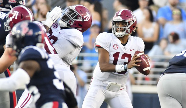 Sep 15, 2018; Oxford, MS, USA; Alabama Crimson Tide quarterback Tua Tagovailoa (13) drops back to pass against the Mississippi Rebels during the first quarter at Vaught-Hemingway Stadium. Photo Credit: Matt Bush-USA TODAY Sports