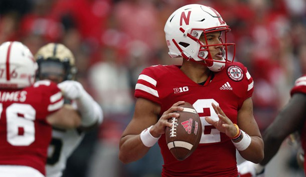 Sep 29, 2018; Lincoln, NE, USA; Nebraska Cornhuskers quarterback Adrian Martinez (2) looks to throw against the Purdue Boilermakers in the first half at Memorial Stadium. Photo Credit: Bruce Thorson-USA TODAY Sports