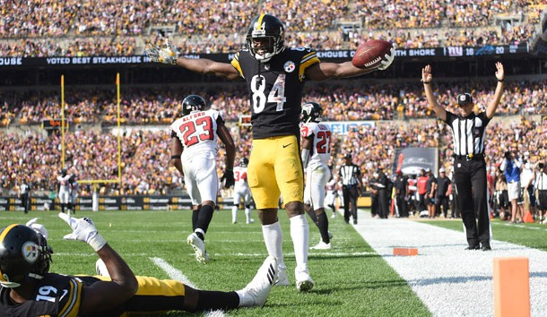 Oct 7, 2018; Pittsburgh, PA, USA; Pittsburgh Steelers wide receiver Antonio Brown (84) and wide receiver JuJu Smith-0Schuster (19) celebrate a fourth quarter touchdown against the Atlanta Falcons  at Heinz Field. The Steelers won 41-17. Photo Credit: Philip G. Pavely-USA TODAY Sports