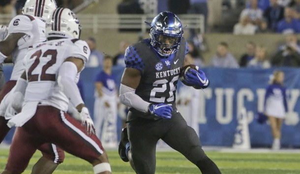 Sep 29, 2018; Lexington, KY, USA; Kentucky Wildcats running back Benny Snell Jr. (26) runs the ball against the South Carolina Gamecocks in the second half at Kroger Field. Kentucky defeated South Carolina 24-10. Photo Credit: Mark Zerof-USA TODAY Sports