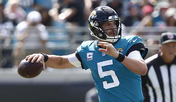 Oct 21, 2018; Jacksonville, FL, USA; Jacksonville Jaguars quarterback Blake Bortles (5) throws a pass during the second quarter against the Houston Texans at TIAA Bank Field. Photo Credit: Reinhold Matay-USA TODAY Sports