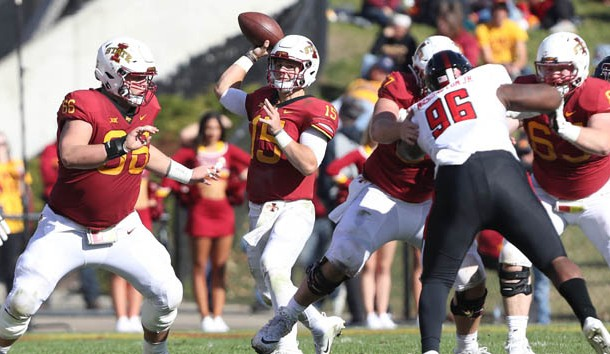Oct 27, 2018; Ames, IA, USA; Iowa State Cyclones quarterback Brock Purdy (15) throws a pass against the Texas Tech Red Raiders Jack Trice Stadium. Photo Credit: Reese Strickland-USA TODAY Sports