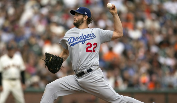Sep 29, 2018; San Francisco, CA, USA; Los Angeles Dodgers starting pitcher Clayton Kershaw (22) delivers against the San Francisco Giants during the fourth inning of a Major League Baseball game at AT&T Park. Photo Credit: D. Ross Cameron-USA TODAY Sports