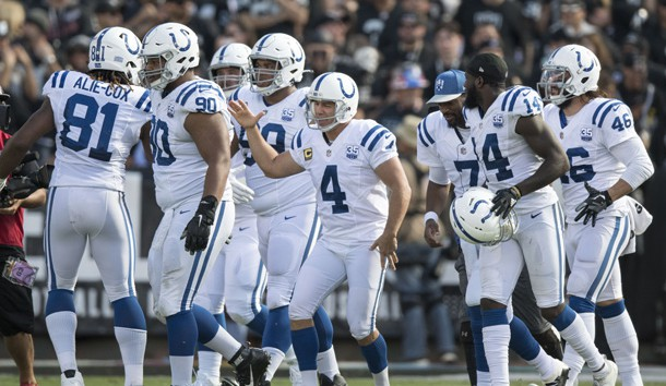 October 28, 2018; Oakland, CA, USA; Indianapolis Colts kicker Adam Vinatieri (4) is congratulated for kicking a field goal to become NFL's all-time points leader during the second quarter against the Oakland Raiders at Oakland Coliseum. Photo Credit: Kyle Terada-USA TODAY Sports