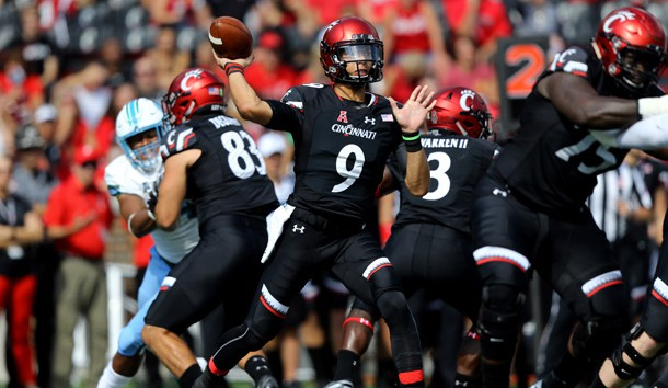 Oct 6, 2018; Cincinnati, OH, USA; Cincinnati Bearcats quarterback Desmond Ridder (9) throws a pass against the Tulane Green Wave in the first half at Nippert Stadium. Photo Credit: Aaron Doster-USA TODAY Sports