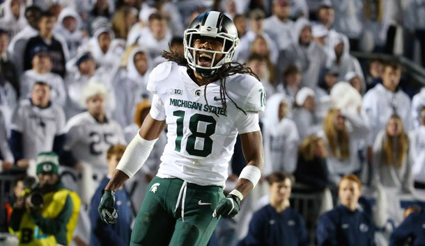 Oct 13, 2018; University Park, PA, USA; Michigan State Spartans wide receiver Felton Davis III (18) reacts after catching the winning touchdown pass against the Penn State Nittany Lions during the fourth quarter at Beaver Stadium. Photo Credit: Rich Barnes-USA TODAY Sports
