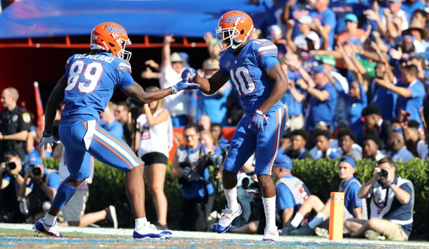 Oct 6, 2018; Gainesville, FL, USA; Florida Gators wide receiver Josh Hammond (10) celebrates with wide receiver Tyrie Cleveland (89) against the LSU Tigers during the second quarter at Ben Hill Griffin Stadium. Photo Credit: Kim Klement-USA TODAY Sports