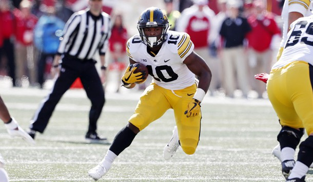 Oct 13, 2018; Bloomington, IN, USA; Iowa Hawkeyes running back Mekhi Sargent (10) runs with the ball against the Indiana Hoosiers during the fourth quarter at Memorial Stadium . Photo Credit: Brian Spurlock-USA TODAY Sports