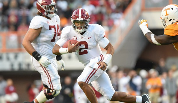 Oct 20, 2018; Knoxville, TN, USA; Alabama Crimson Tide quarterback Jalen Hurts (2) runs the ball against the Tennessee Volunteers during the second half at Neyland Stadium. Alabama won 58 to 21. Photo Credit: Randy Sartin-USA TODAY Sports