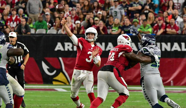 Sep 30, 2018; Glendale, AZ, USA; Arizona Cardinals quarterback Josh Rosen (3) throws during the second half against the Seattle Seahawks at State Farm Stadium. Photo Credit: Matt Kartozian-USA TODAY Sports