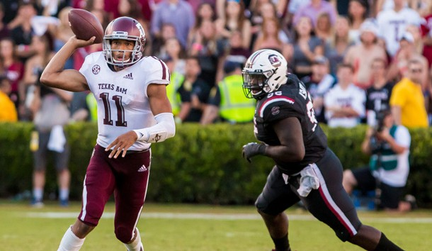 Oct 13, 2018; Columbia, SC, USA; Texas A&M Aggies quarterback Kellen Mond (11) passes against the South Carolina Gamecocks in the second half at Williams-Brice Stadium. Photo Credit: Jeff Blake-USA TODAY Sports