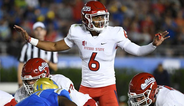 Sep 15, 2018; Pasadena, CA, USA; Fresno State Bulldogs quarterback Marcus McMaryion (6) calls a play at the line of scrimmage during the third quarter against the UCLA Bruins at Rose Bowl. Photo Credit: Robert Hanashiro-USA TODAY Sports