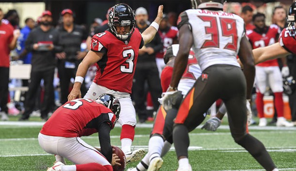 Oct 14, 2018; Atlanta, GA, USA; Atlanta Falcons kicker Matt Bryant (3) kicks a field goal against the Tampa Bay Buccaneers during the first half at Mercedes-Benz Stadium. Photo Credit: Dale Zanine-USA TODAY Sports