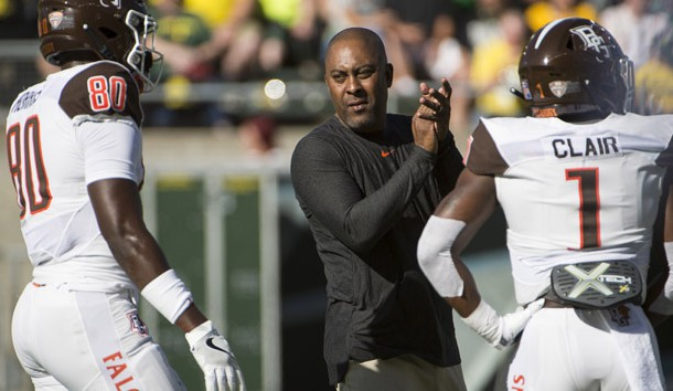 Sep 1, 2018; Eugene, OR, USA; Bowling Green Falcons head coach Mike Jinks applauds his players as they warm up before a game against the Oregon Ducks at Autzen Stadium. Photo Credit: Troy Wayrynen-USA TODAY Sports