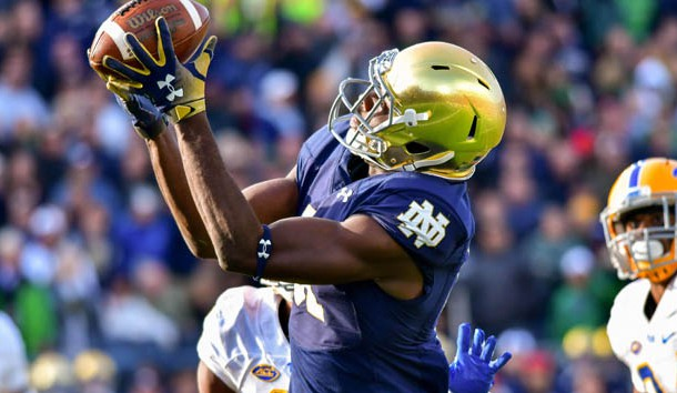 Oct 13, 2018; South Bend, IN, USA; Notre Dame Fighting Irish wide receiver Miles Boykin (81) catches the game winning catch for a touchdown in the fourth quarter against the Pittsburgh Panthers at Notre Dame Stadium. Photo Credit: Matt Cashore-USA TODAY Sports