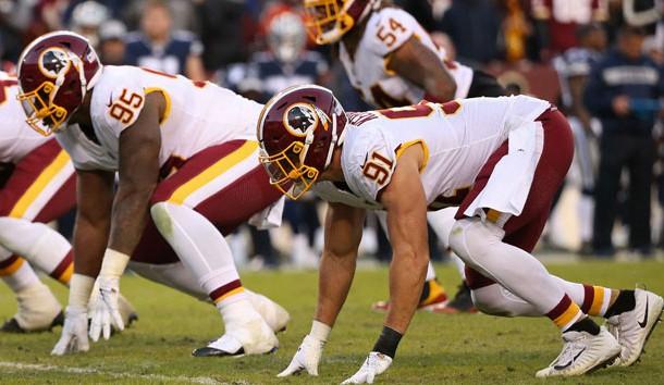 Oct 21, 2018; Landover, MD, USA; Washington Redskins linebacker Ryan Kerrigan (91) and Redskins defensive tackle Da'Ron Payne (95) line up against the Dallas Cowboys at FedEx Field. Photo Credit: Geoff Burke-USA TODAY Sports