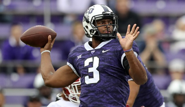 Oct 20, 2018; Fort Worth, TX, USA; TCU Horned Frogs quarterback Shawn Robinson (3) throws during the first quarter against the Oklahoma Sooners at Amon G. Carter Stadium. Photo Credit: Kevin Jairaj-USA TODAY Sports