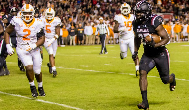 Oct 27, 2018; Columbia, SC, USA; South Carolina Gamecocks running back Ty'Son Williams (27) scores a touchdown against the Tennessee Volunteers in the second half at Williams-Brice Stadium. Photo Credit: Jeff Blake-USA TODAY Sports