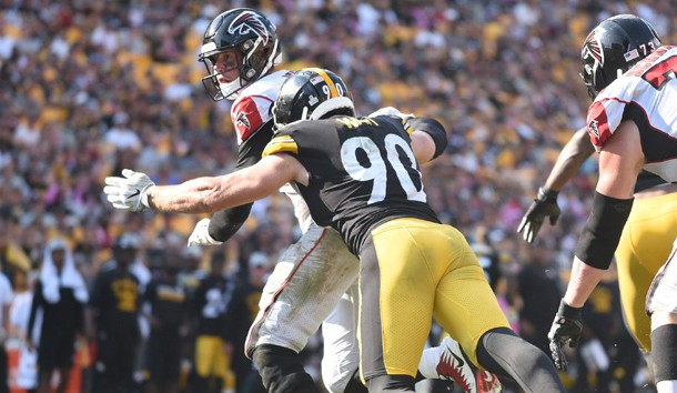 Oct 7, 2018; Pittsburgh, PA, USA; Pittsburgh Steelers linebacker T.J. Watt (90) pressures Atlanta Falcons quarterback Matt Ryan (2) in the fourth quarter at Heinz Field. The Steelers won 41-17. Photo Credit: Philip G. Pavely-USA TODAY Sports